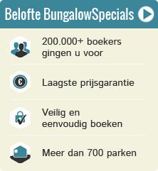 Belofte BungalowSpecials.be: 100.000+ klanten gingen u voor, laagste prijs garantie, veilig boeken, meer dan 500 parken